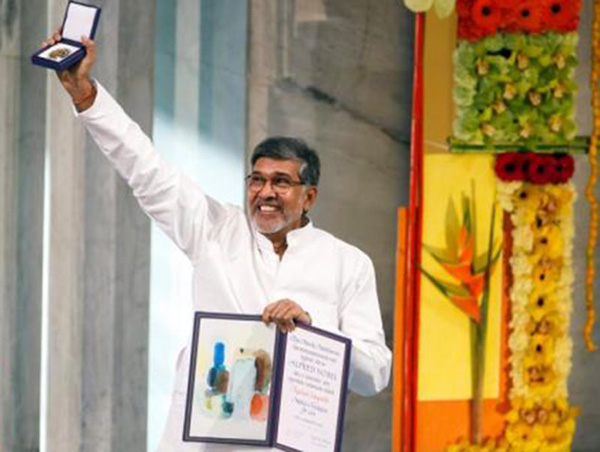 Kailash with nobel peace prize